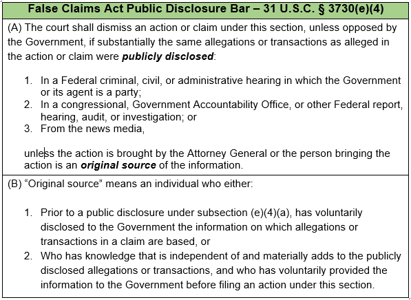 FCA Public Disclosure Bar